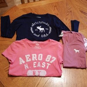 Tops - Set of three Tshirts PINK, AERO, ABERCROMBIE.